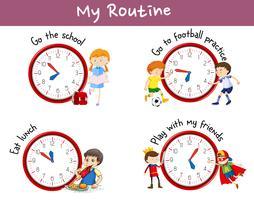 Rotinas diferentes em cartaz com crianças e atividades vetor