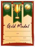 Modelo de certificado para medalha de ouro vetor