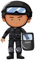 Oficial da SWAT em uniforme de segurança vetor