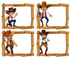 Modelo de quadro com cowboys vetor