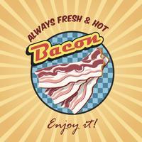 Poster retro de bacon vetor