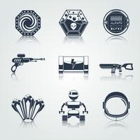 Ícones do jogo espacial preto