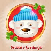 Cartão de urso de Natal vetor