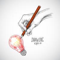 Lâmpada de desenho de mão vetor