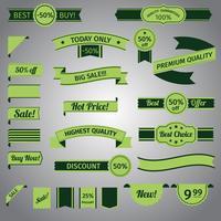 Desconto retro ribbon green set vetor