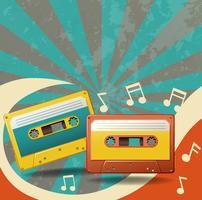 Dois cassetes de fita vintage e notas musicais vetor