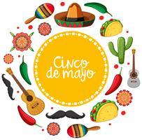Modelo de cartão de cinco de maio com instrumentos musicais mexicanos vetor