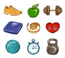 Ícones de esboço colorido de fitness