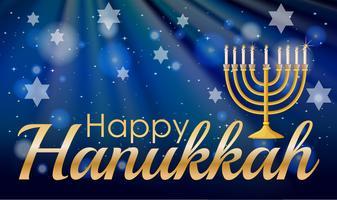 Hannukkah feliz com velas e estrelas vetor