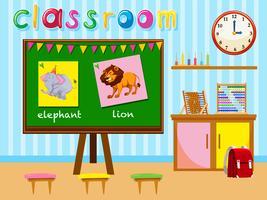 Sala de aula do jardim de infância com placa e cadeiras