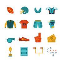 Conjunto de ícones plana de Rugby