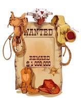 Cartaz vintage ocidental de procurado