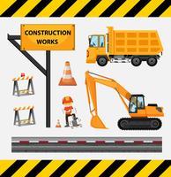 Trabalhador da construção civil e caminhões no local vetor