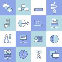 Conjunto de ícones de rede linha plana