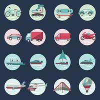 Transporte, ícones, redondo, jogo vetor