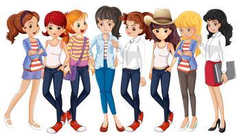 Meninas em jeans azul vetor