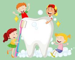 Crianças, limpeza, dente, com, escova de dentes vetor