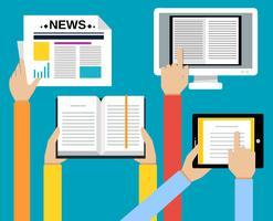 Negócio, mãos, leitura, conceito vetor