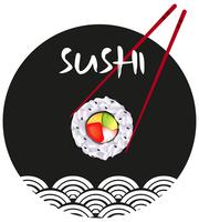 Design da etiqueta com sushi vetor