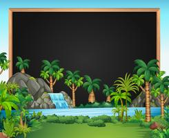 Modelo de fronteira com cena de cachoeira vetor