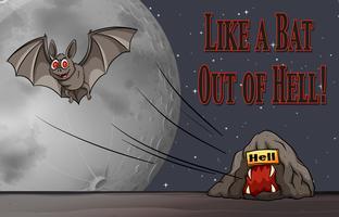 Frase em cartaz para como um morcego fora do inferno vetor