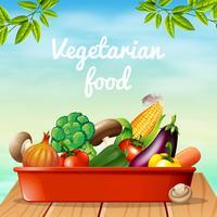 Design de cartaz com comida vegetariana vetor
