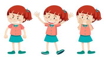 Menina, com, três, diferente, emoções vetor