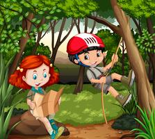 Menino menina, hiking, em, a, madeiras vetor
