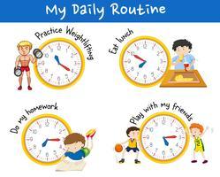 Rotina diária para pessoas diferentes com relógios amarelos vetor