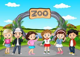 Muitas crianças que visitam o zoológico vetor