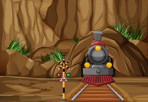Cena de fundo com trem na pista vetor