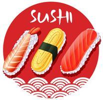 Design de comida japonesa com rolos de sushi vetor