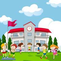 Estudantes, tocando, frente, escola vetor