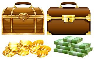 Dois desenhos de baús com ouro e dinheiro vetor