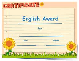 Modelo de certificado para prêmio em inglês vetor