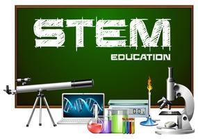 Design de cartaz de educação de haste com equipamentos de ciência vetor