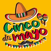 Design de cartaz de cinco de maio com chapéu e maracas vetor