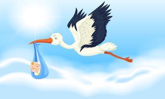 Cegonha bebê entregando menino recém-nascido vetor