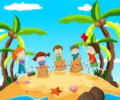 Crianças, em, pular, raça, praia