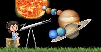 Menina com telescópio aprendendo sistema solar vetor