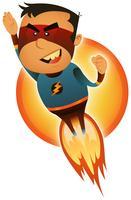 Super-herói em quadrinhos decolando