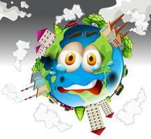 Poluição do ar de fábricas na Terra vetor