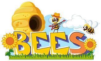 Design de palavras para abelhas vetor