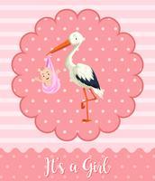 Bebê de cegonha no fundo rosa vetor
