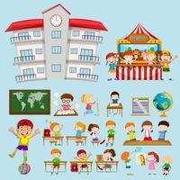 Cenas da escola com crianças em sala de aula vetor