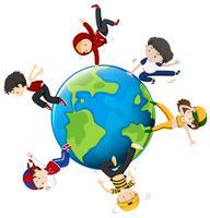 Pessoas dançando ao redor do mundo vetor