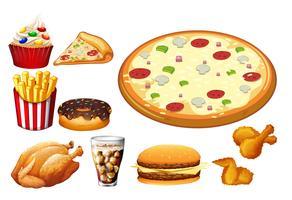 Diferentes tipos de fastfood vetor