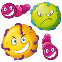 Bactérias com cara de raiva vetor
