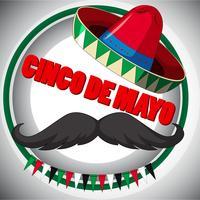 Design de cartaz de cinco de Mayo com bigode e chapéu vetor