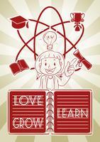 Menina e diagrama de aprendizagem vetor
